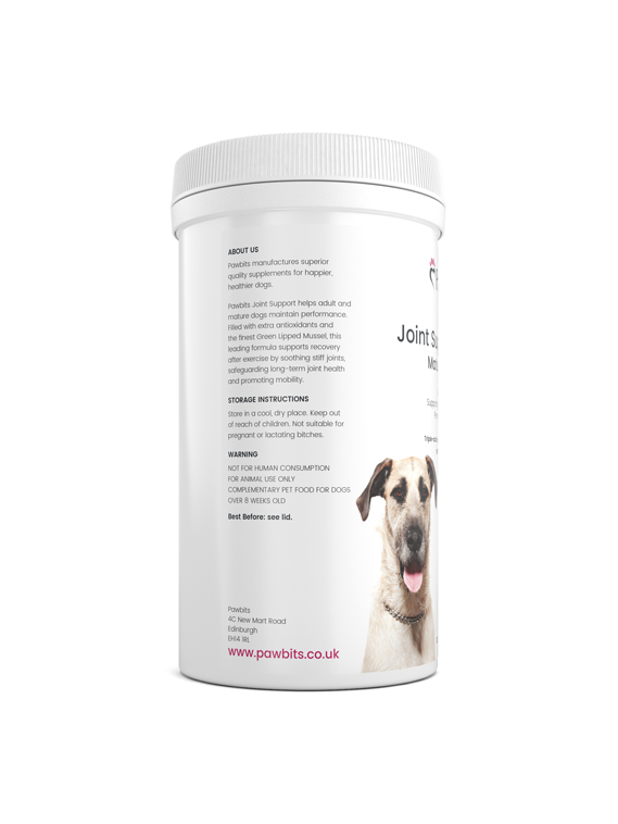 Left hand view of a Pawbits joint support mature dog pet food supplement bottle