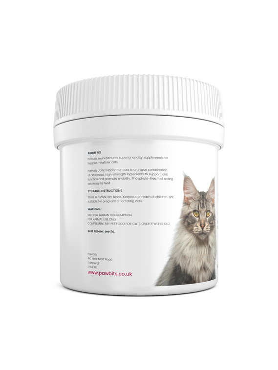 A right view of a Pawbits joint support for cats pet food supplement bottle