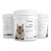 A triple view of a Pawbits joint support for cats pet food supplement bottle