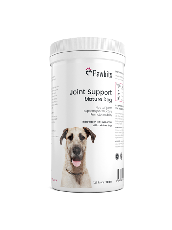 A front view of a Pawbits joint support mature dog pet food supplement bottle