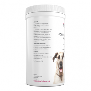 Right hand view of a Pawbits joint support mature dog pet food supplement bottle
