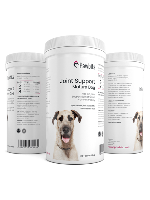 A triple view of a Pawbits Joint Support for Dog pet food supplement bottle