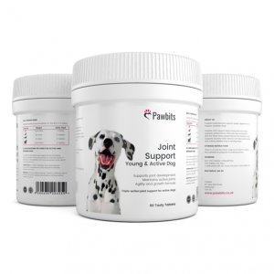 A triple view of a Pawbits joint support young and active dog bottle